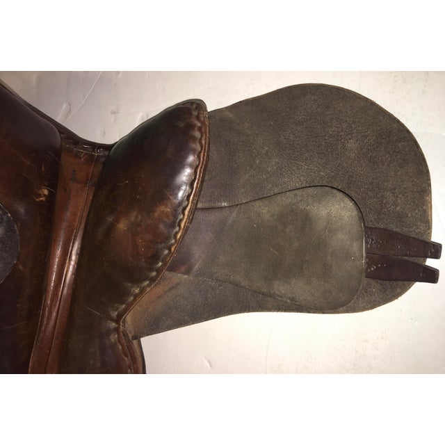 Vintage Equestrian English Leather Lady Saddle For Sale - Image 11 of 13