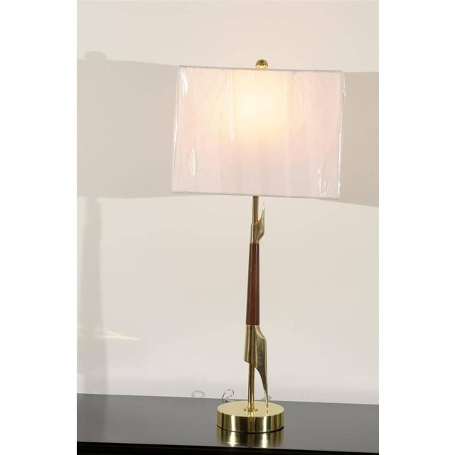 Mid-Century Modern Restored Pair of Elegant Rembrandt Rocket Lamps in Walnut and Brass For Sale - Image 3 of 11