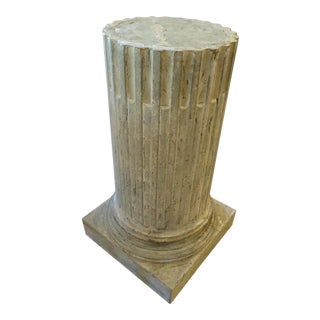 Vintage French Fluted Wood Pedestal For Sale