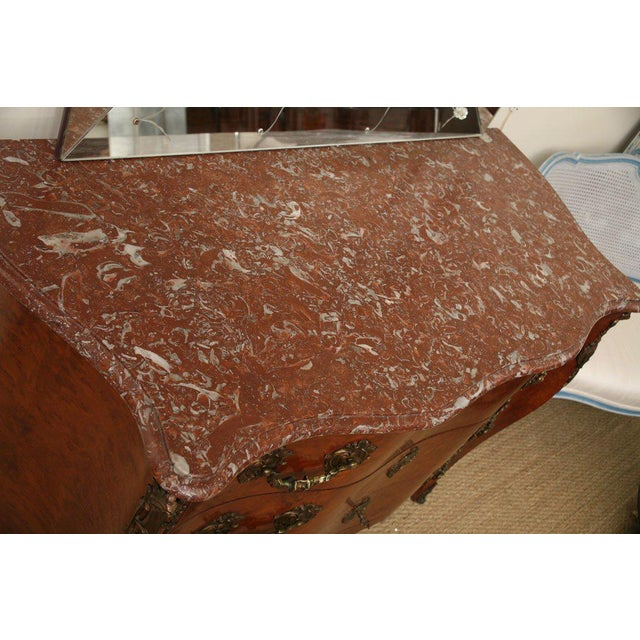 French Antique Louis XV Chest of Drawers With Verona Marble Top For Sale - Image 3 of 10