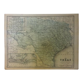 """Antique Mitchell's New School Atlas Map, """"Texas"""" by e.h. Butler & Company Publishers - 1865 For Sale"""