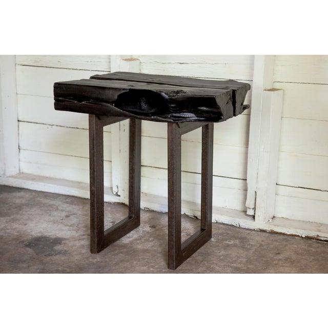 Asian Modern Yakisugi Wood and Metal Side End Table For Sale - Image 11 of 13