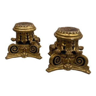 17th Century Water Gilding, Hand Carved Roman Capitals - a Pair For Sale
