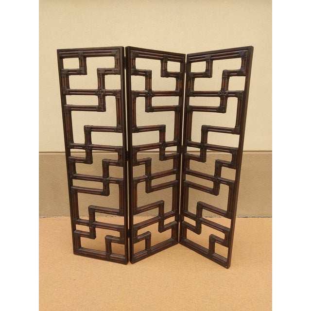 Bundled Reed Rattan Chinese Chippendale Room Divider For Sale - Image 4 of 10