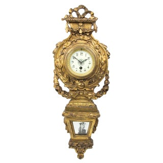 Neoclassical Giltwood Cartel Clock, Late 19th Century For Sale