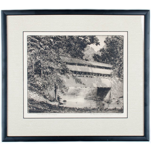 Covered Bridge Etching by F. Townsend Morgan For Sale