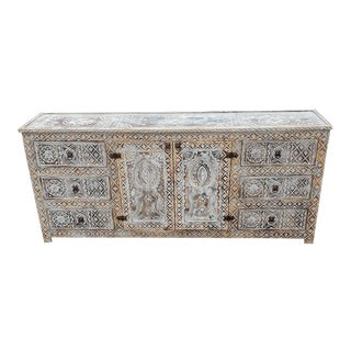 Moroccan White Washed Berber Style Wooden Cabinet For Sale