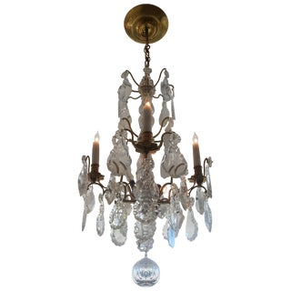 Louis XV Bronze & Hand-Cut Crystal Chandelier From France Circa 1850 For Sale