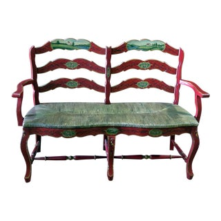 Vintage Distressed Green and Red Painted Settee For Sale