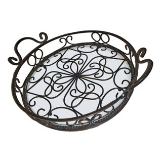 1970s Spanish Revival Scrolling Wrought Iron & Clear Glass Display Tray Preview