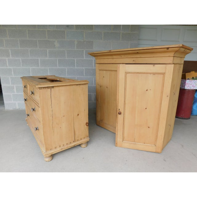 Antique English 2pc Pine Linen Press Armoire Cabinet For Sale - Image 12 of 13