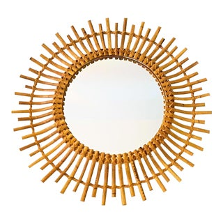 1950s French Saint Tropez Riviera Rattan Sunburst Mirror