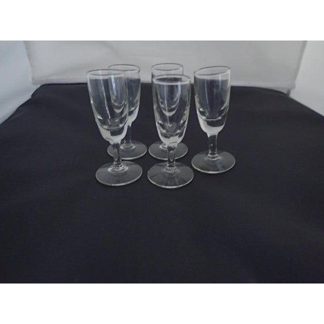 Mid Century Clear Shot Glasses - Set of 5 For Sale - Image 4 of 5