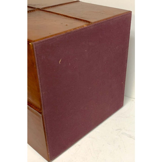 French Modern Stitched Leather Cube Wastepaper Basket For Sale In West Palm - Image 6 of 9
