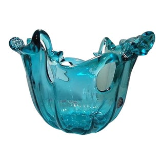 Murano White Crystal Blue Water Flow Design Art Glass Bowl For Sale
