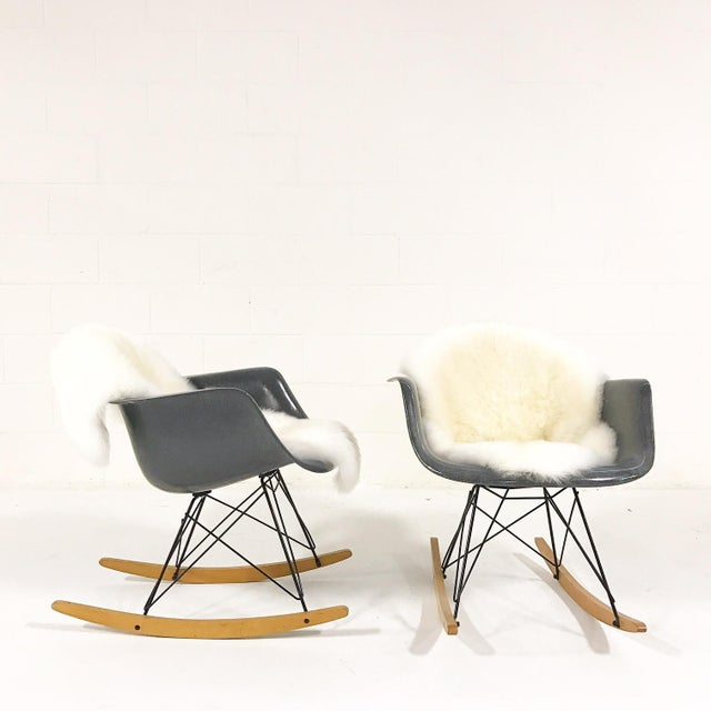 Charles & Ray Eames for Herman Miller Rar Rockers With Sheepskins - a Pair - Image 4 of 7