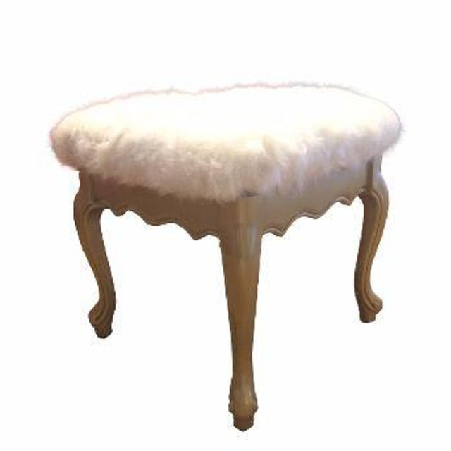 Faux Fur French Provincial Ottoman - Image 1 of 5