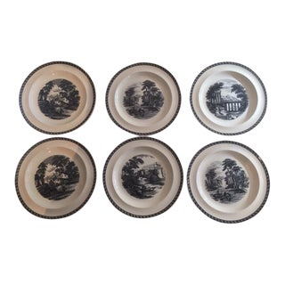 Vintage Wedgewood Black and White Transfer Plates - Set of 6 For Sale