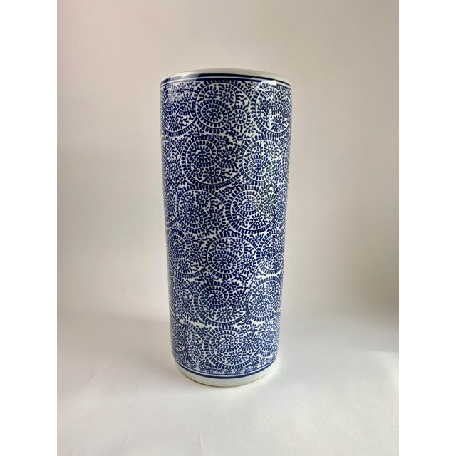 Blue Blue and White Porcelain Umbrella Stand For Sale - Image 8 of 8