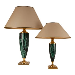 1970s Hollywood Regency French Faux Malachite and Brass Table Lamps Maison Jansen Style - Set of 2 For Sale