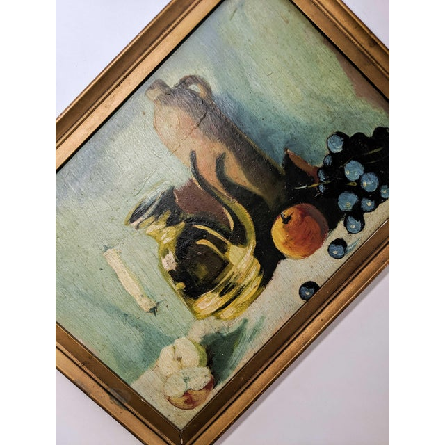 Vintage Oil Still Life Painting With Gold Frame For Sale - Image 4 of 7