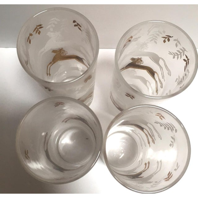 Vintage Mid-Century Gold & White Horses Highball Glasses - Set of 4 - Image 3 of 4