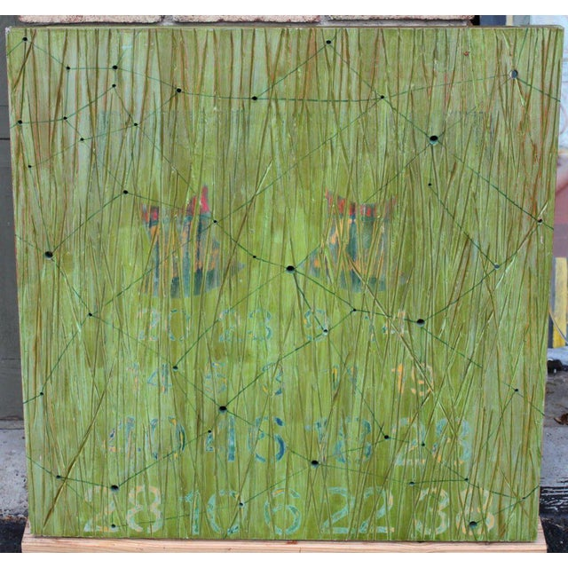 Green Abstract on Wood by Noted Los Angeles Artist Dawn Arrowsmith For Sale - Image 8 of 8