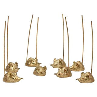 Napier 24k Gold Plated Mice Servers - Set of 8 For Sale