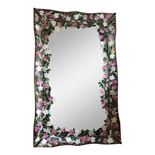 Vintage Cherry Blossom Mosaic Mirror For Sale