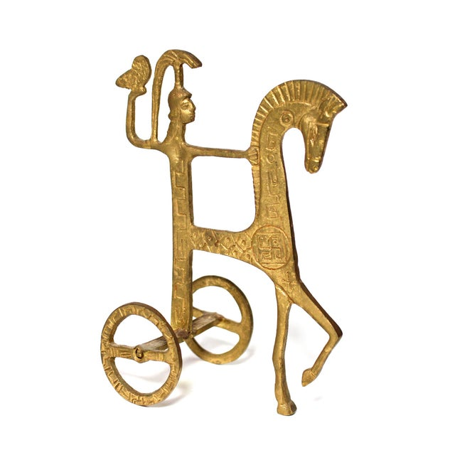 Neoclassical Vintage Brutalist Brass Sculpture of Greek Goddess Athena Riding Chariot For Sale - Image 3 of 6