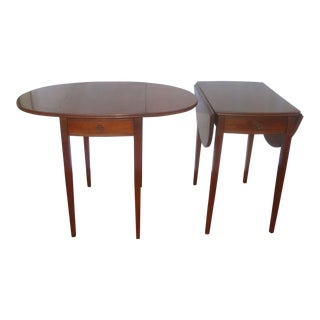 Oval Mahogany Dropleaf Pembroke Tables, a Pair For Sale
