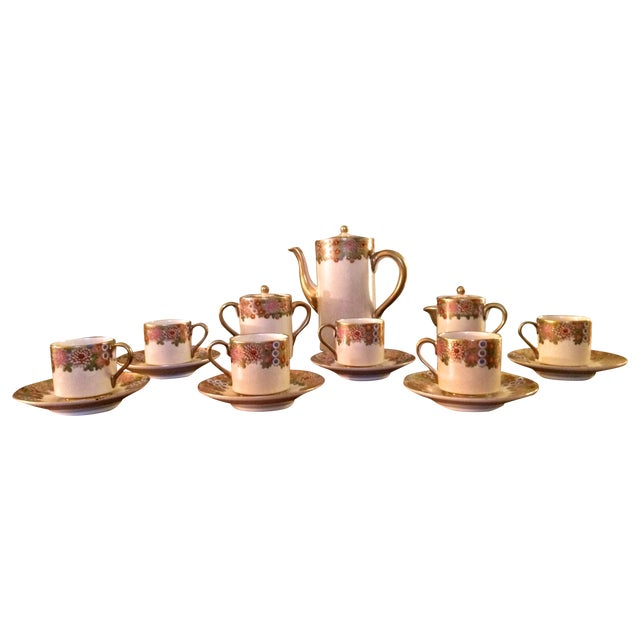 Vintage Japan Koshida Satsuma Coffee Set - 15 Pcs For Sale