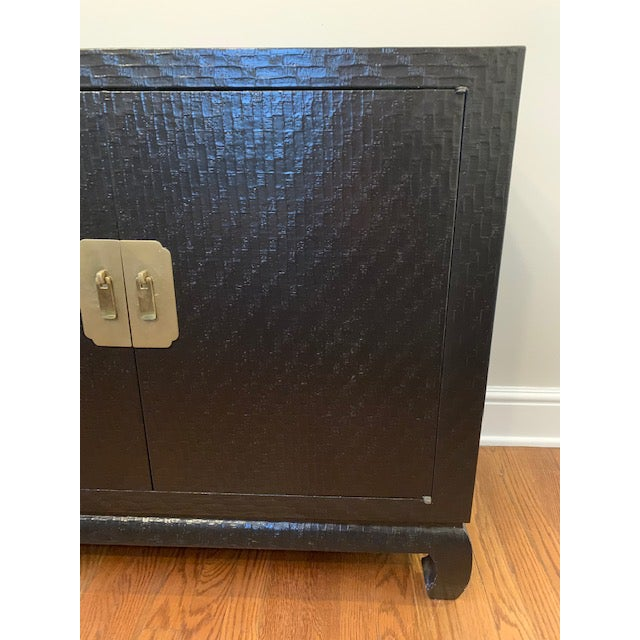 Asian Baker Grasscloth Black Lacquered Ming Cabinet For Sale - Image 3 of 10