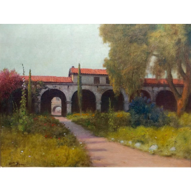 """William Barr -Mission Capistrano c1920s -Impressionist California Oil painting frame size 23 x 28"""" canvas size 18 x 24""""..."""