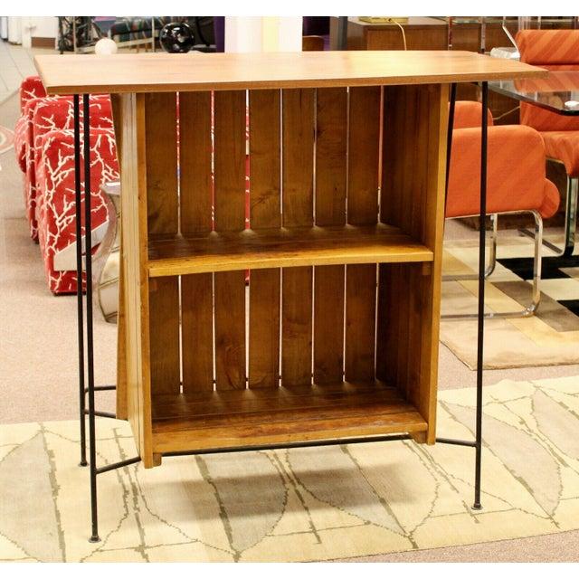 Mid Century Modern Arthur Umanoff for Raymor Iron & Wood Slat Standing Bar 1950s For Sale - Image 11 of 13