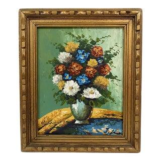 1970s Floral Still Life Painting, Framed For Sale