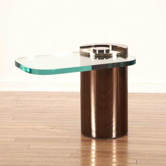 Mid-Century Modern Signed, Karl Springer Cantilevered Side Table For Sale - Image 3 of 6