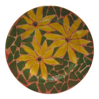 Italian Artist Signed Sunflower Plate Platter For Sale