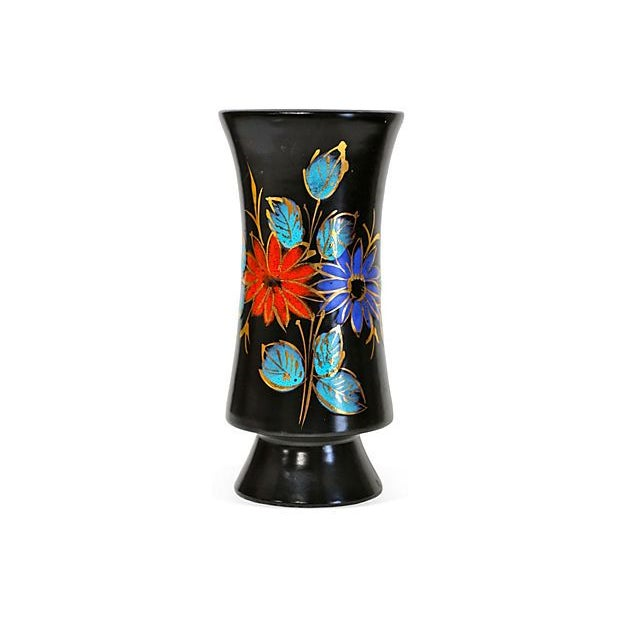 """A lovely Mid-Century Italian vase, featuring hand painted, modern florals throughout in vibrant colors. Marked """"Italy"""",..."""