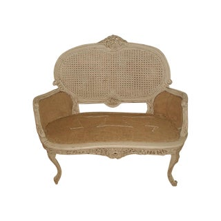 French 19th C. Hand Carved & Caned Settee For Sale