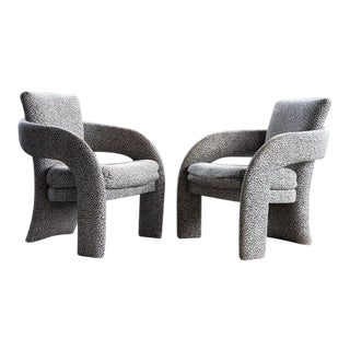 Mid Century Post Modern Parsons Upholstered Lounge Chairs - - a Pair For Sale