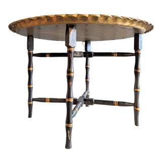 Regency Foldable Brass Tray Table W/Faux Bamboo Base For Sale