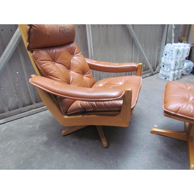 Lied Mobler Mid-Century Leather Recliner Chair & Ottoman - Image 9 of 9