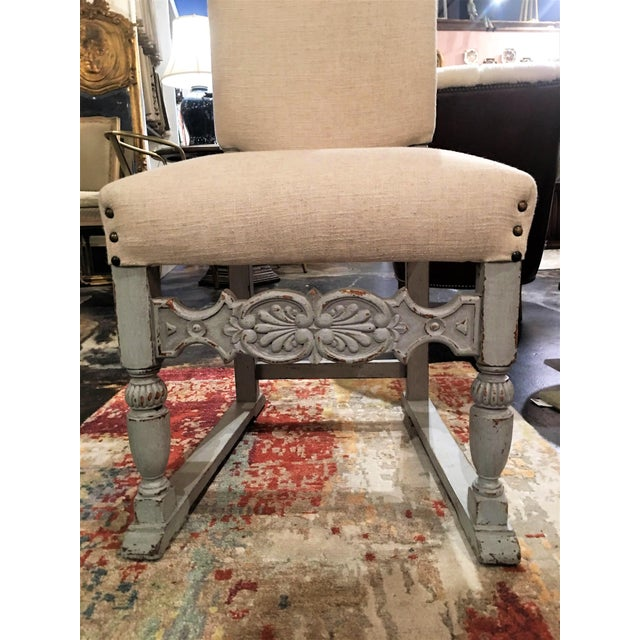 Late 19th Century Antique French Gray Blue Painted Chairs- a Pair For Sale - Image 9 of 13