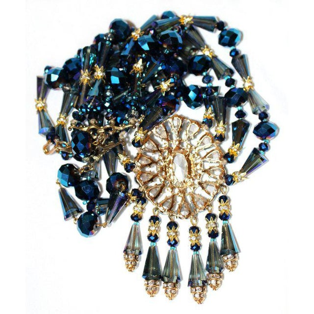 1980s Vintage Midnight-Blue Faceted Glass Bib Necklace For Sale - Image 4 of 5
