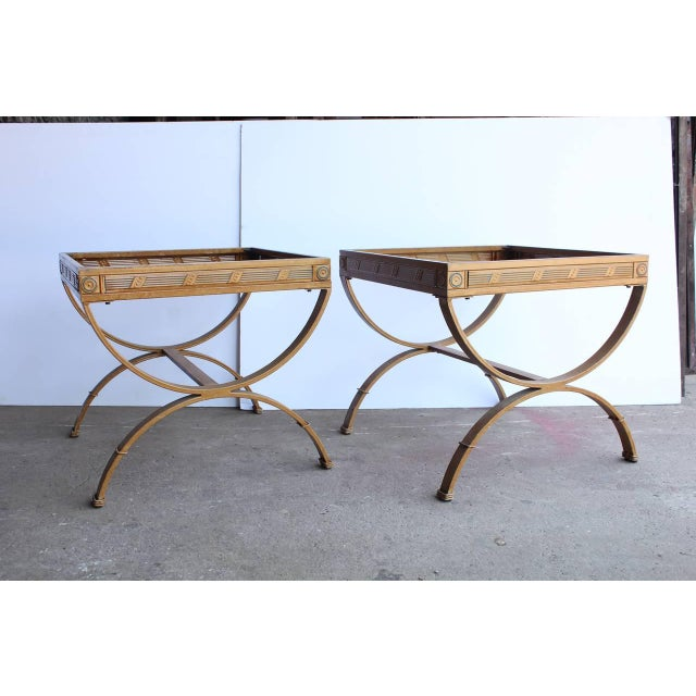 1930s hand glazed French metal side tables with glass tops. They could be used inside and outdoor.