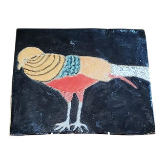"Vintage ""Colorful Bird"" Glazed & Painted Ceramic Tile For Sale"