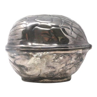 Vintage Silver Walnut Shell Lidded Box Catchall For Sale