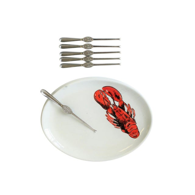 A great set of 6 vintage Italian red lobster and white ceramic pottery oval plates by designer Ed Langbein, Italy. All are...