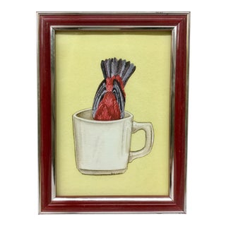 Framed Original Charcoal Drawing of Bird in Cup For Sale